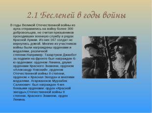 2.1 Бесленей в годы войны В годы Великой Отечественной войны из аула отправил