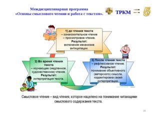 * Междисциплинарная программа «Основы смыслового чтения и работа с текстом».