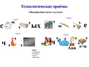 * Технологические приёмы 1.Мозговая атака (парная и групповая) Расшифруйте сл