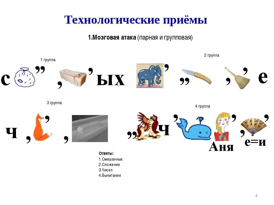* Технологические приёмы 1.Мозговая атака (парная и групповая) Расшифруйте сл...
