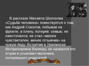 В рассказе Михаила Шолохова «Судьба человека» повествуется о том, как Андрей