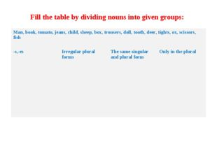 Fill the table by dividing nouns into given groups: Man, book, tomato, jeans,