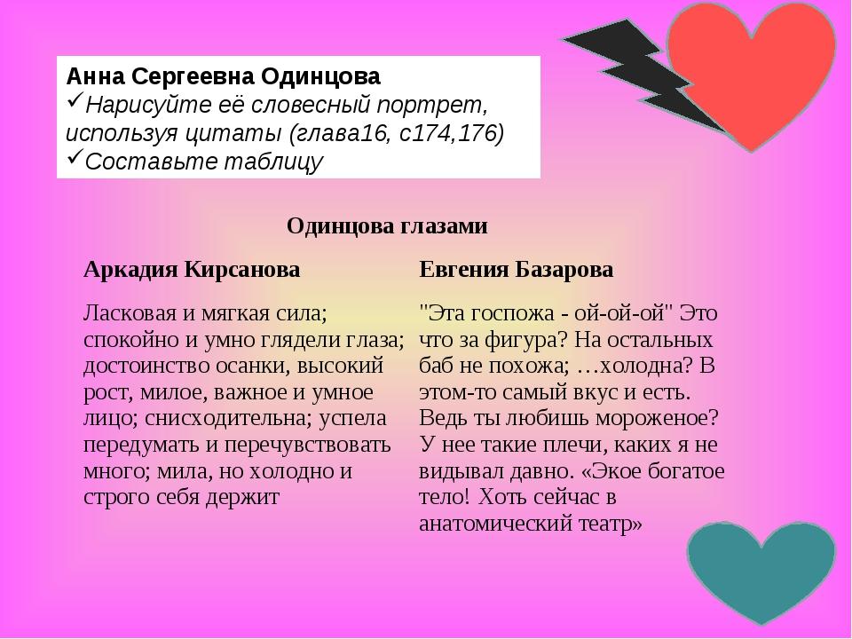 Анна Сергеевна Одинцова Нарисуйте её словесныйпортрет, используя цитаты (гла...
