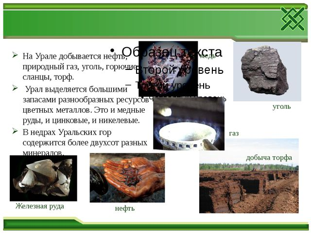 На Урале добывается нефть, природный газ, уголь, горючие сланцы, торф. Урал в...