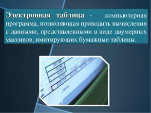 Электронная таблица -  компьютерная программа, позволяющая проводить вычисле