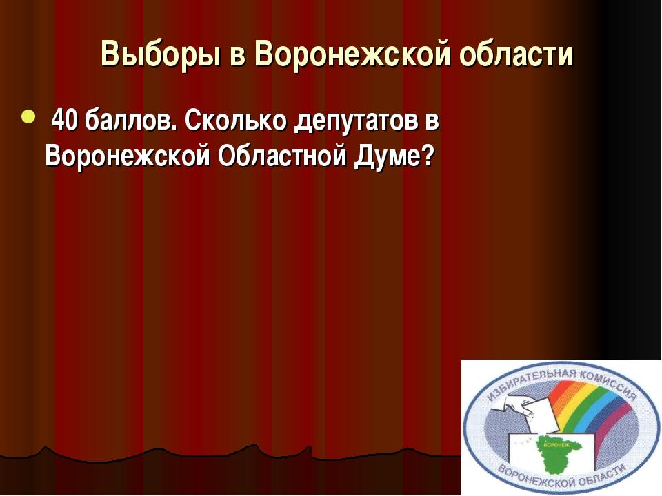 Выборы в Воронежской области  40 баллов.Сколько депутатов в Воронежско...