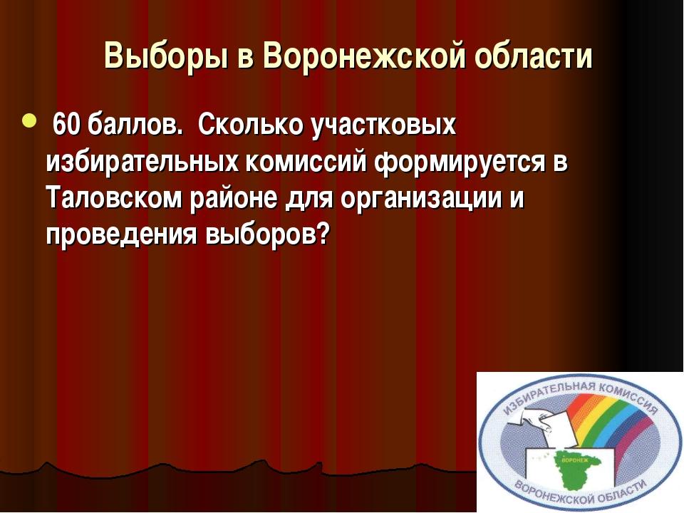 Выборы в Воронежской области  60 баллов. Сколько участковых избиратель...