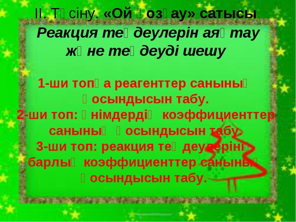 ІІ. Түсіну. «Ой қозғау» сатысы Реакция теңдеулерін аяқтау және теңдеуді шешу...