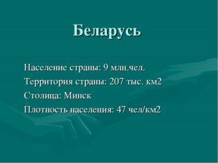 Беларусь Население страны: 9 млн.чел. Территория страны: 207 тыс. км2 Столица