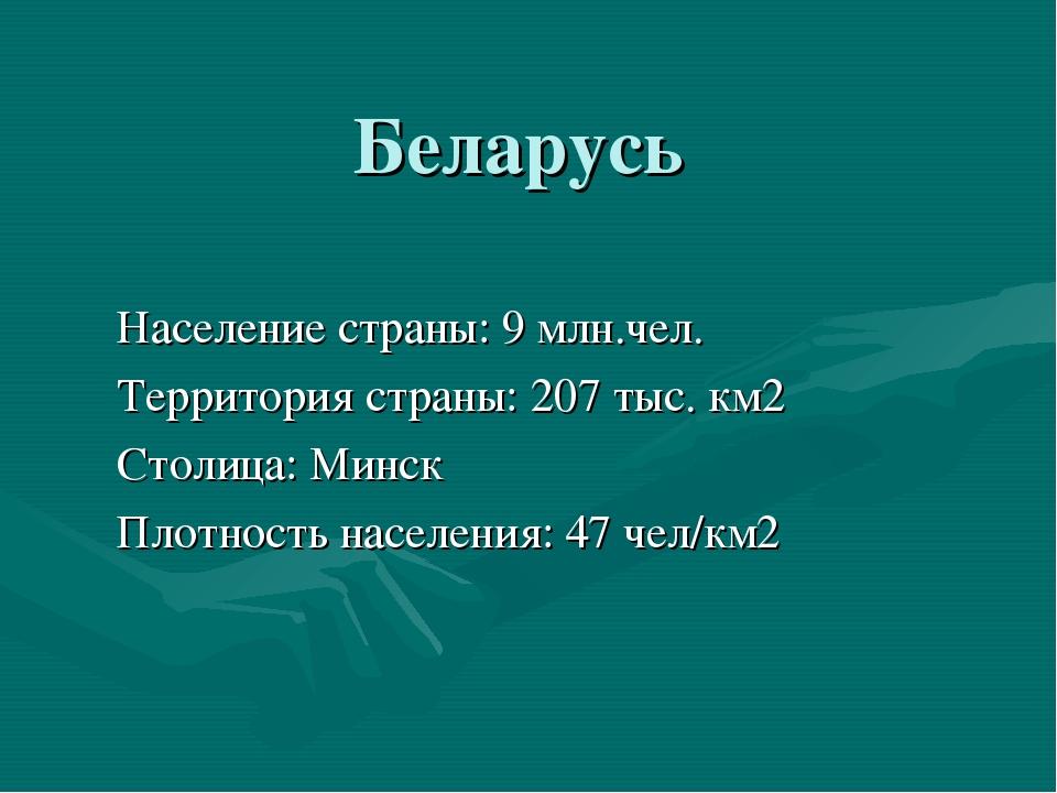 Беларусь Население страны: 9 млн.чел. Территория страны: 207 тыс. км2 Столица...