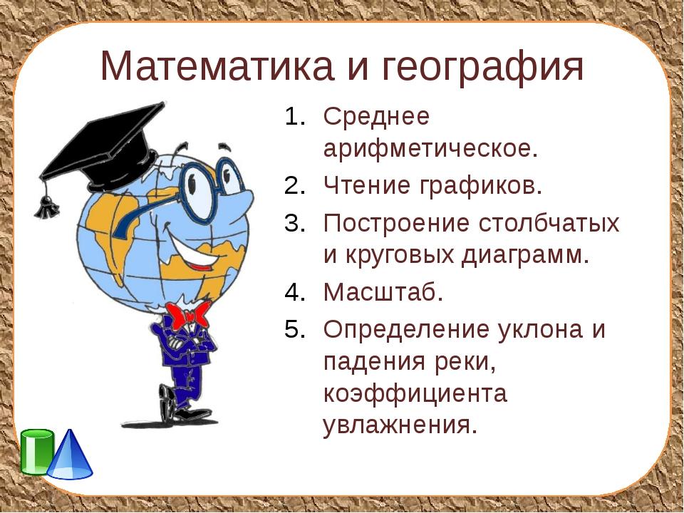 Математика и география Среднее арифметическое. Чтение графиков. Построение ст...