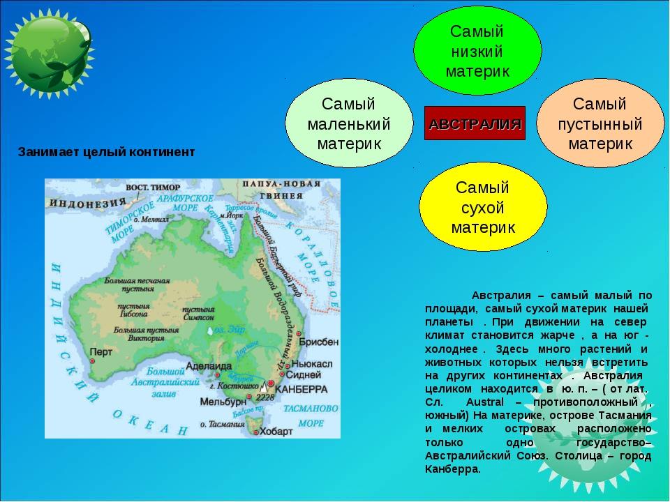 Австралия – самый малый по площади, самый сухой материк нашей планеты . При...