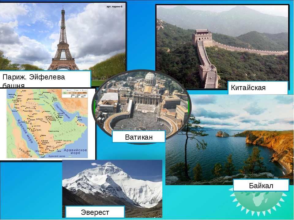 Париж. Эйфелева башня Китайская стена Байкал Ватикан Эверест