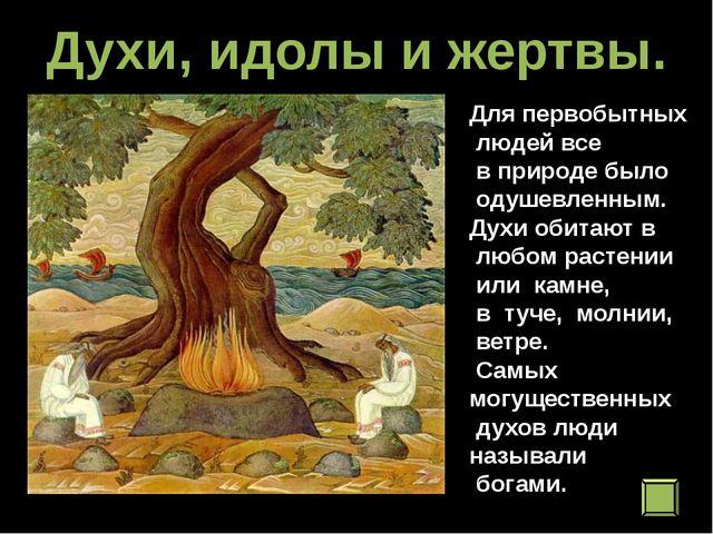 Духи, идолы и жертвы. Для первобытных людей все в природе было одушевленным....