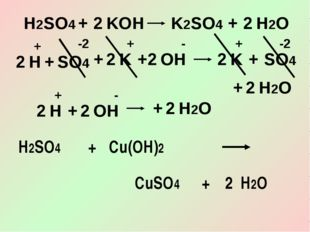 H2SO4 + KOH K2SO4 + 2 H2O 2 SO4 + K K + 2 H2O 2 H + OH SO4 + 2 2 2 + + -2 + -