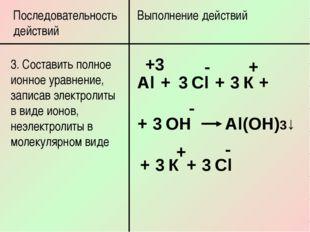 Последовательность действий Выполнение действий 3. Составить полное ионное ур