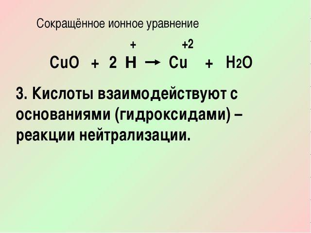 Сокращённое ионное уравнение CuО + H Cu + H2O + +2 2 3. Кислоты взаимодейству...