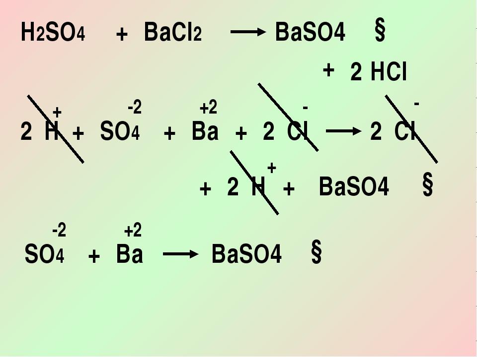 H2SO4 + BaCl2 + BaSO4 HCl ↓ 2 SO4 + Ba + BaSO4 Cl ↓ 2 H + Cl + H 2 2 2 + + -2...