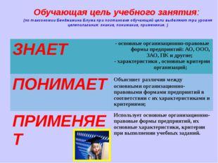 Обучающая цель учебного занятия: (по таксономии Бенджамина Блума при постано