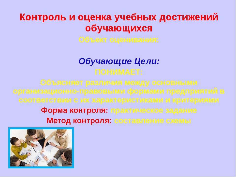 Контроль и оценка учебных достижений обучающихся Объект оценивания: Обучающи...