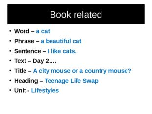 Book related Word – a cat Phrase – a beautiful cat Sentence – I like cats. Te