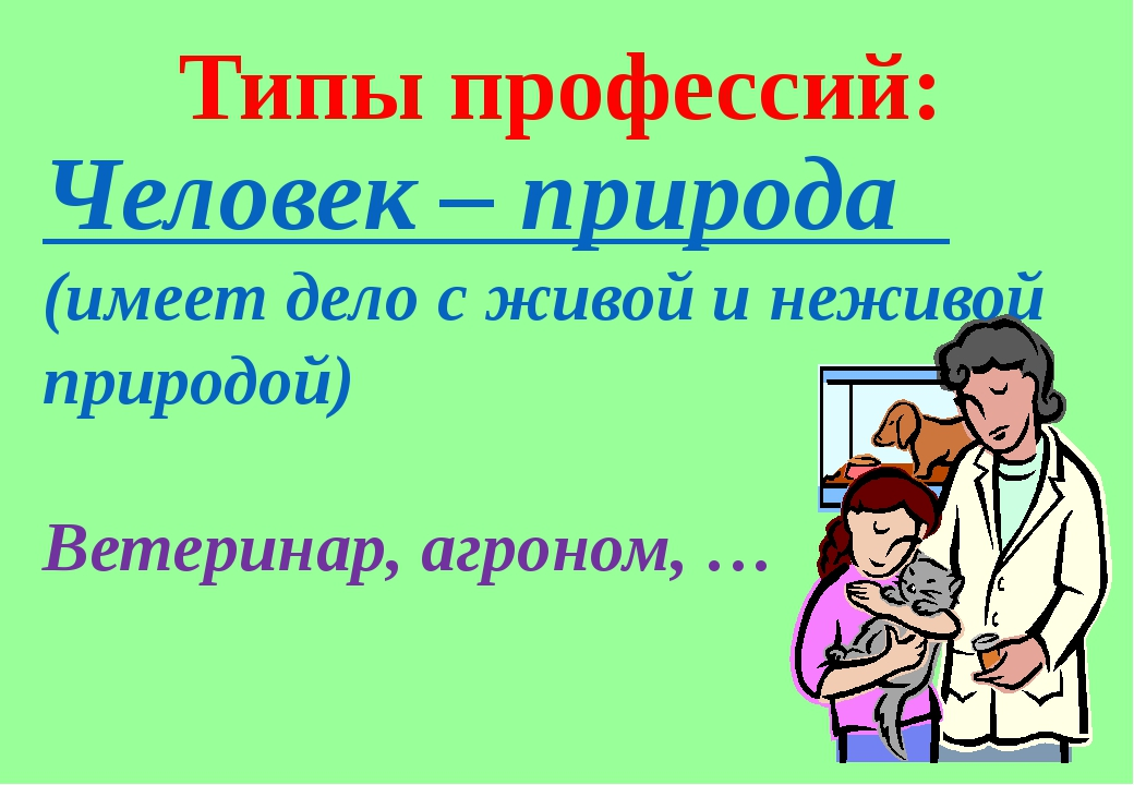 Человек – природа (имеет дело с живой и неживой природой) Ветеринар, агроном,...
