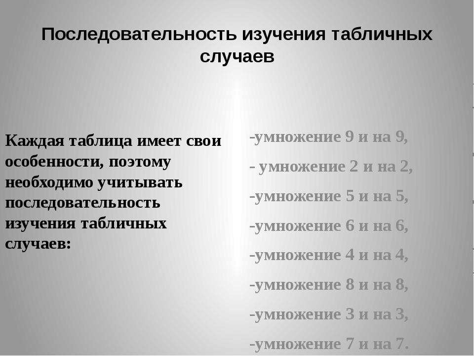 Последовательность изучения табличных случаев Каждая таблица имеет свои особе...