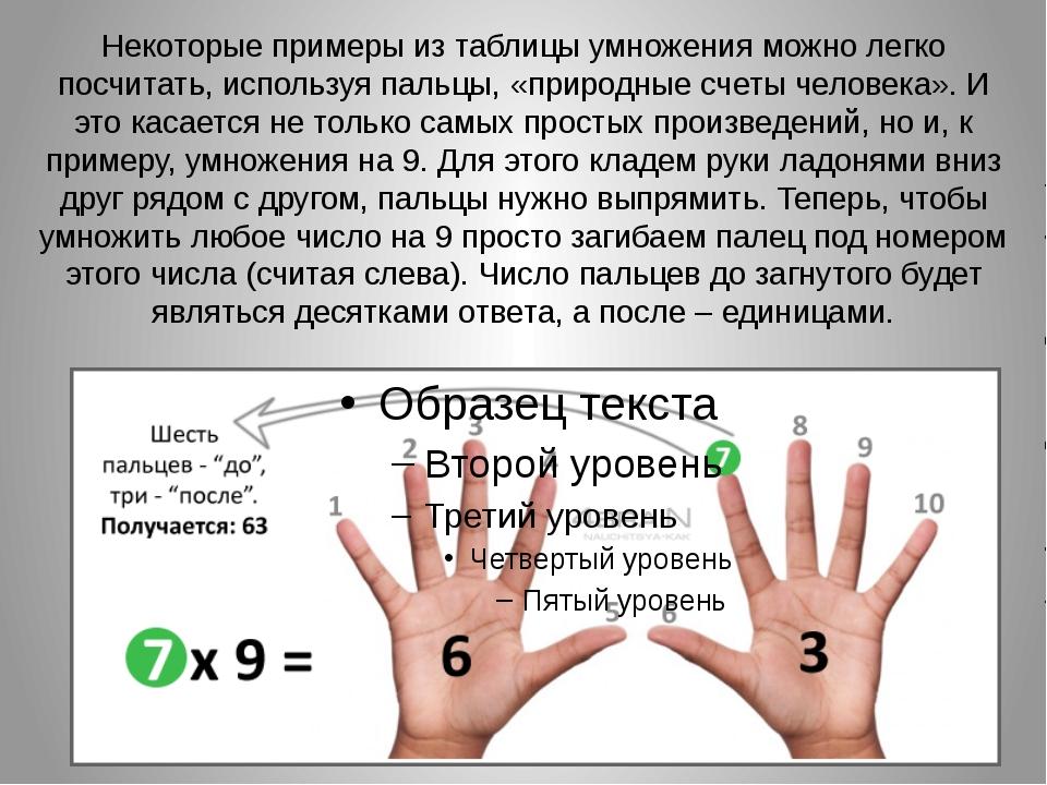 Некоторые примеры из таблицы умножения можно легко посчитать, используя пальц...