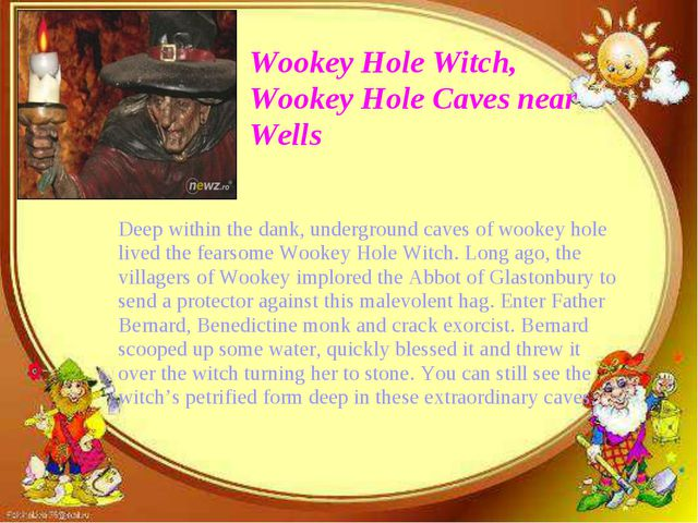 Wookey Hole Witch, Wookey Hole Caves near Wells Deep within the dank, undergr...