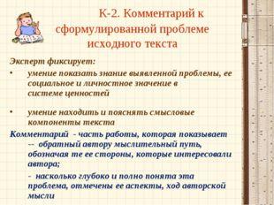 К-2. Комментарий к сформулированной проблеме исходного текста Эксперт фиксир