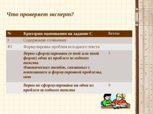 Что проверяет эксперт? №Критерии оценивания на задание Сбаллы IСодержание