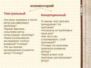Текстуальный На каких примерах в тексте автор рассматривает проблему? Какими