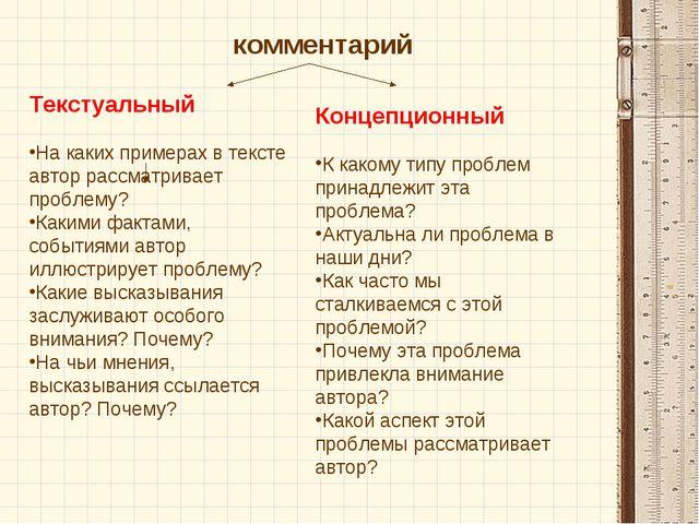 Текстуальный На каких примерах в тексте автор рассматривает проблему? Какими...