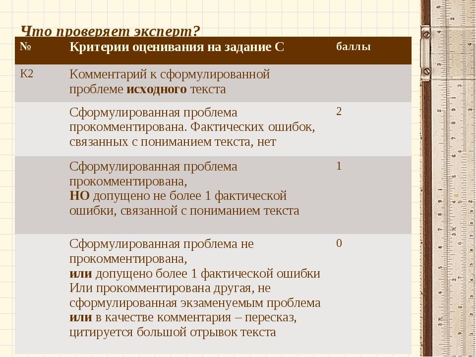 Что проверяет эксперт? №Критерии оценивания на задание Сбаллы К2 Комментар...