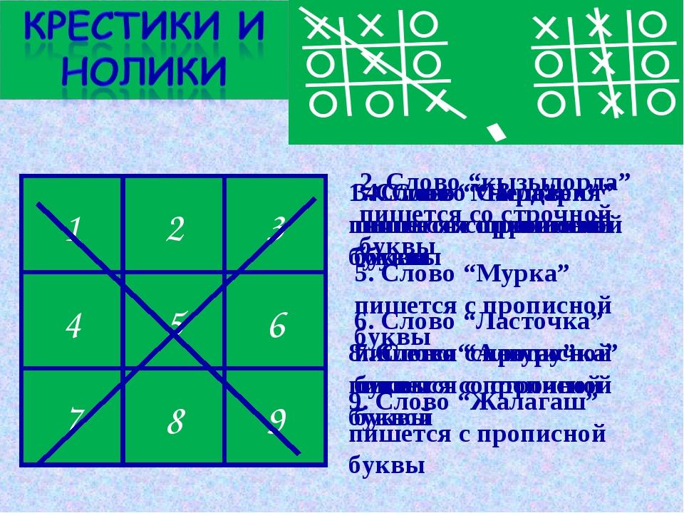 """х 0 х 0 х 0 х 0 х 1 2 3 4 5 6 7 8 9 1. Слово """"Маша"""" пишется с прописной буквы..."""