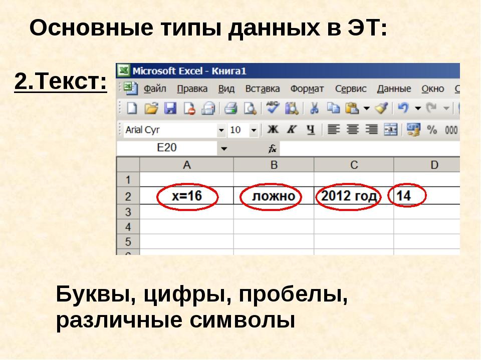 Основные типы данных в ЭТ: 2.Текст: Буквы, цифры, пробелы, различные символы