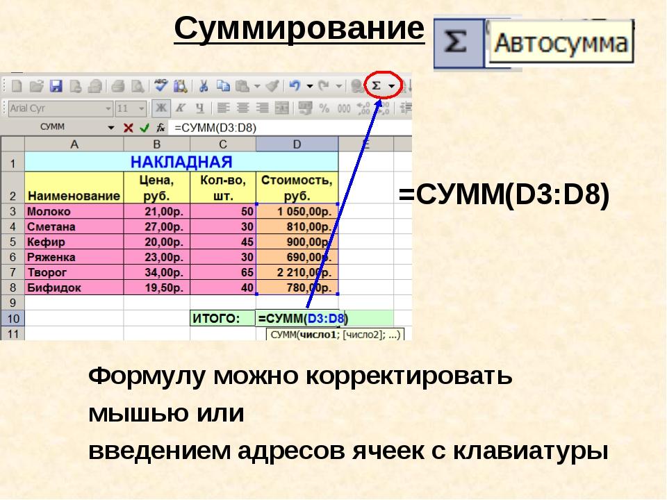 Суммирование Формулу можно корректировать мышью или введением адресов ячеек...