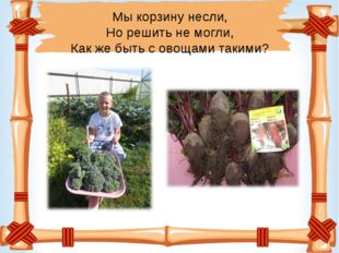 Мы корзину несли, Но решить не могли, Как же быть с овощами такими?