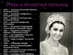 1953 — Татьяна («Евгений Онегин», Большой театр). 1954 — Леонора («Фиделио»,