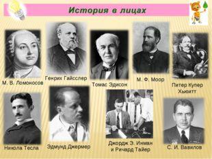 Генрих Гайсслер С.И.Вавилов Томас Эдисон М. Ф. Моор Питер Купер Хьюитт Эдму