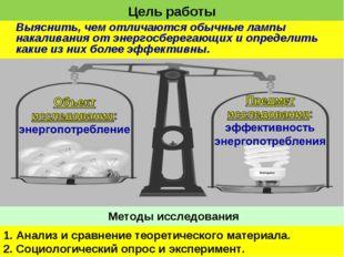 Цель работы Выяснить, чем отличаются обычные лампы накаливания от энергосбере