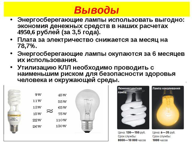 Выводы Энергосберегающие лампы использовать выгодно: экономия денежных средст...