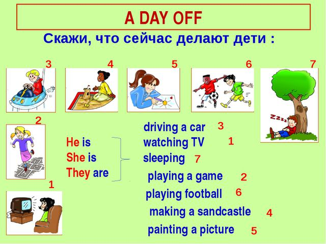 He is She is They are A DAY OFF Cкажи, что сейчас делают дети : 1 2 3 4 5 6 7...