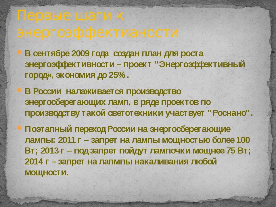 """В сентябре 2009 года создан план для роста энергоэффективности – проект """"Энер..."""