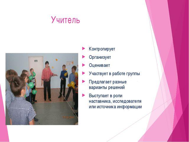 Учитель Контролирует Организует Оценивает Участвует в работе группы Предлага...