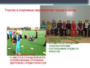 Участие в спортивных мероприятиях города и школы Достигнутые результаты в 200