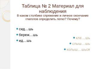 Таблица № 2 Материал для наблюдения В каком столбике спряжение и личное оконч