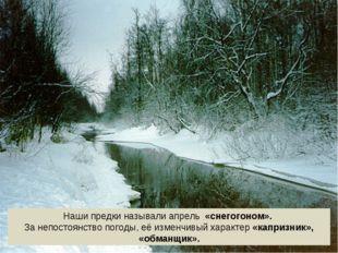 Наши предки называли апрель «снегогоном». За непостоянство погоды, её изменчи