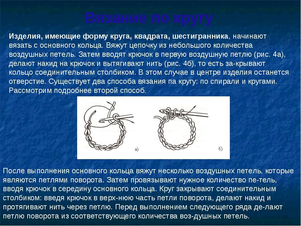 Вязание по кругу Изделия, имеющие форму круга, квадрата, шестигранника, начин...