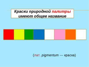 П И Г М Е Н Т Ы Краски природной палитры имеют общее название Пигме́нт(лат.